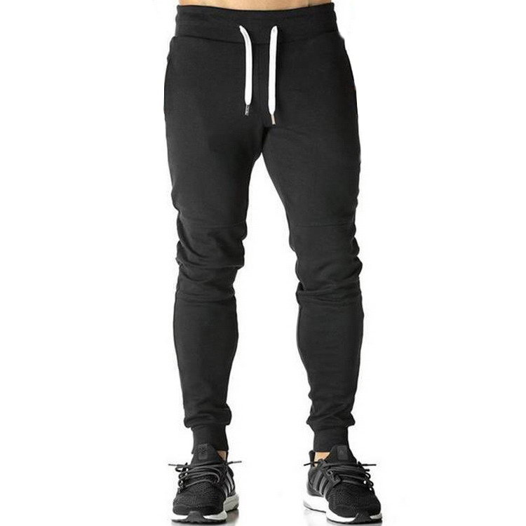 Popular style black color running sports fitness training workout gym custom wholesale trousers track pants